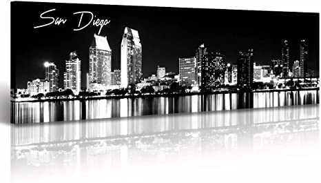 Amazon Com Djsylife San Diego Skyline Wall Art Black And White Stretched Canvas Art Prints Wall Decoration Painting For Bedroom Or Office Ready To Hang 13 8 X47 3 Posters Prints