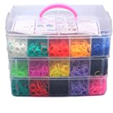 NUOLUX 7500pcs Colorful Rubber Loom Bands Box Set DIY Bracelet Kit