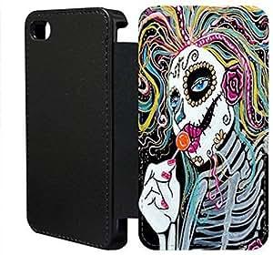 iPhone 6 6S Plus 5,5 pulgadas Flip Wallet funda, FKSGFKOOH0520 lujo moda cuero la PU Flip Wallet funda por iPhone 6 6S Plus 5,5 pulgadas (azúcar cráneo)