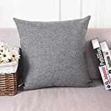 "Image of Home Brilliant Spring Decorative Linen Square Throw Pillow Cases Cushion Covers Textured, 18""x18"", Dark Grey"