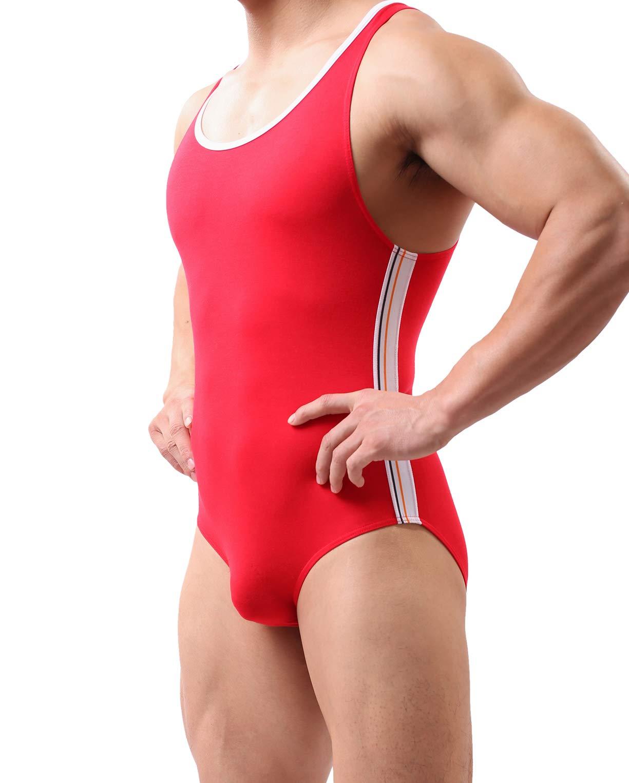 YUYANG Mens Bodysuit Jumpsuit Underwear Briefs Singlet Leotard Swimwear Jockstrap (Large/FIT About Waist 30'', Modal - Red) by YUYANG