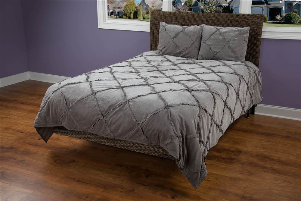 Rizzy Home Posh 3-Piece Quilted Bed Set, King, Charcoal