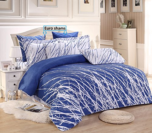 Swanson Beddings Tree Branches 3-Piece 100% Cotton Bedding Set: Duvet Cover and Two Pillow Shams (Blue-White, (Contemporary Duvet Sets)