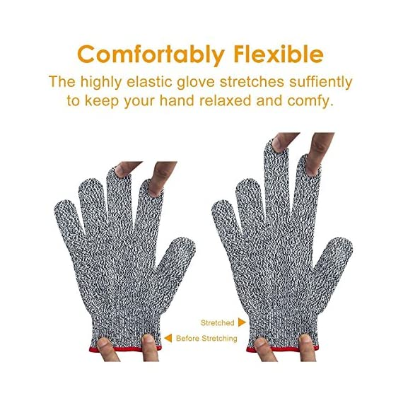 Venja New Kitchen Gloves Cooking Cut Resistant Gloves with Level 5 Protection Kitchen Glove Cutting Stand, Food Contact Safe Work Gloves 6