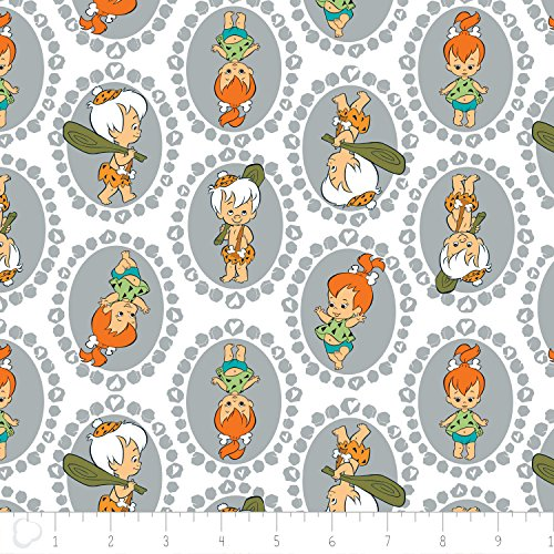Flintstones Pebbles and Bamm-Bamm in Stone Gray Premium Quality Fabric by the Yard -