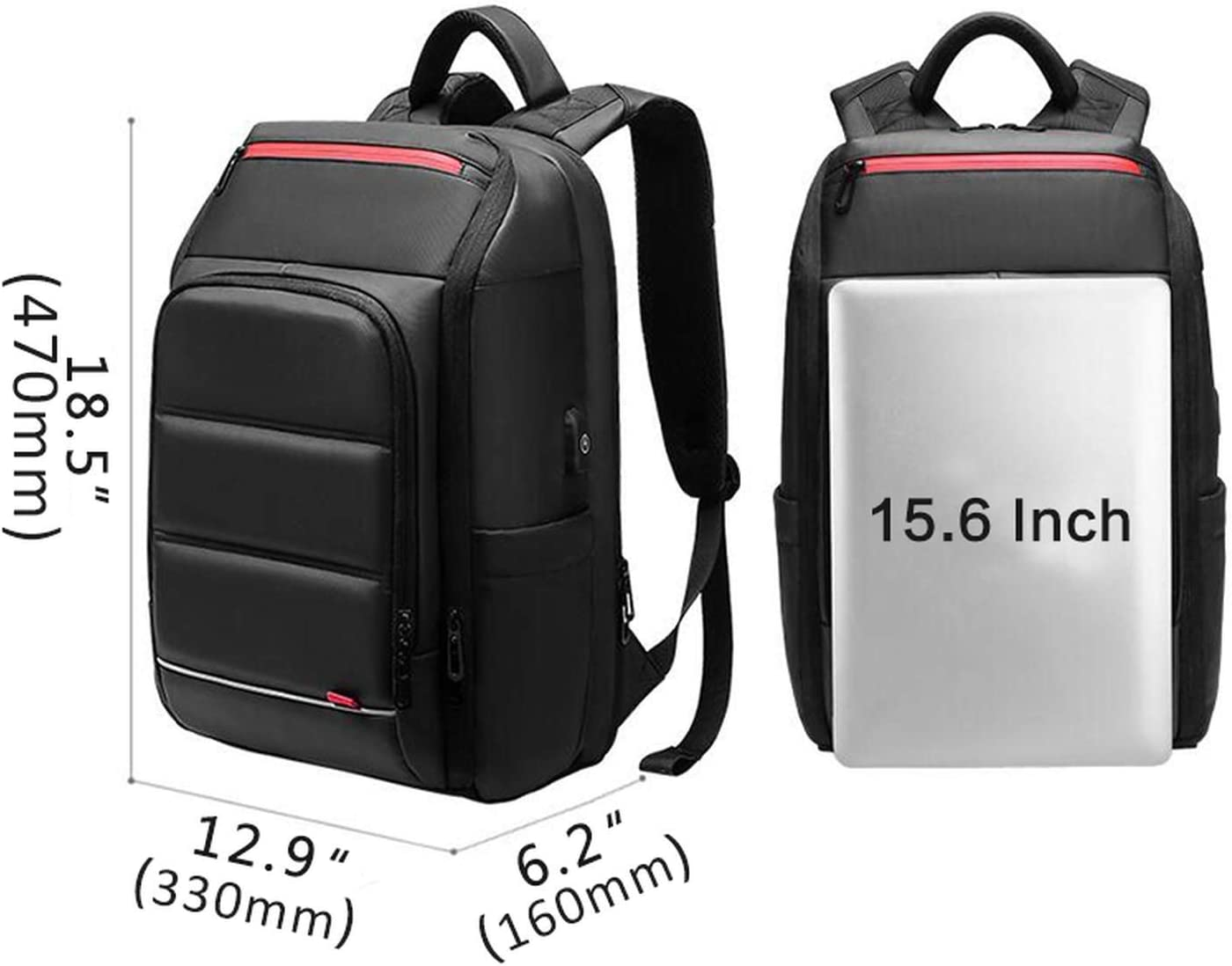 Mens Laptop Backpack with USB Charging Multifunction Waterproof Business Travel Backpack Large Capacity Teen Student Bag,Set 4
