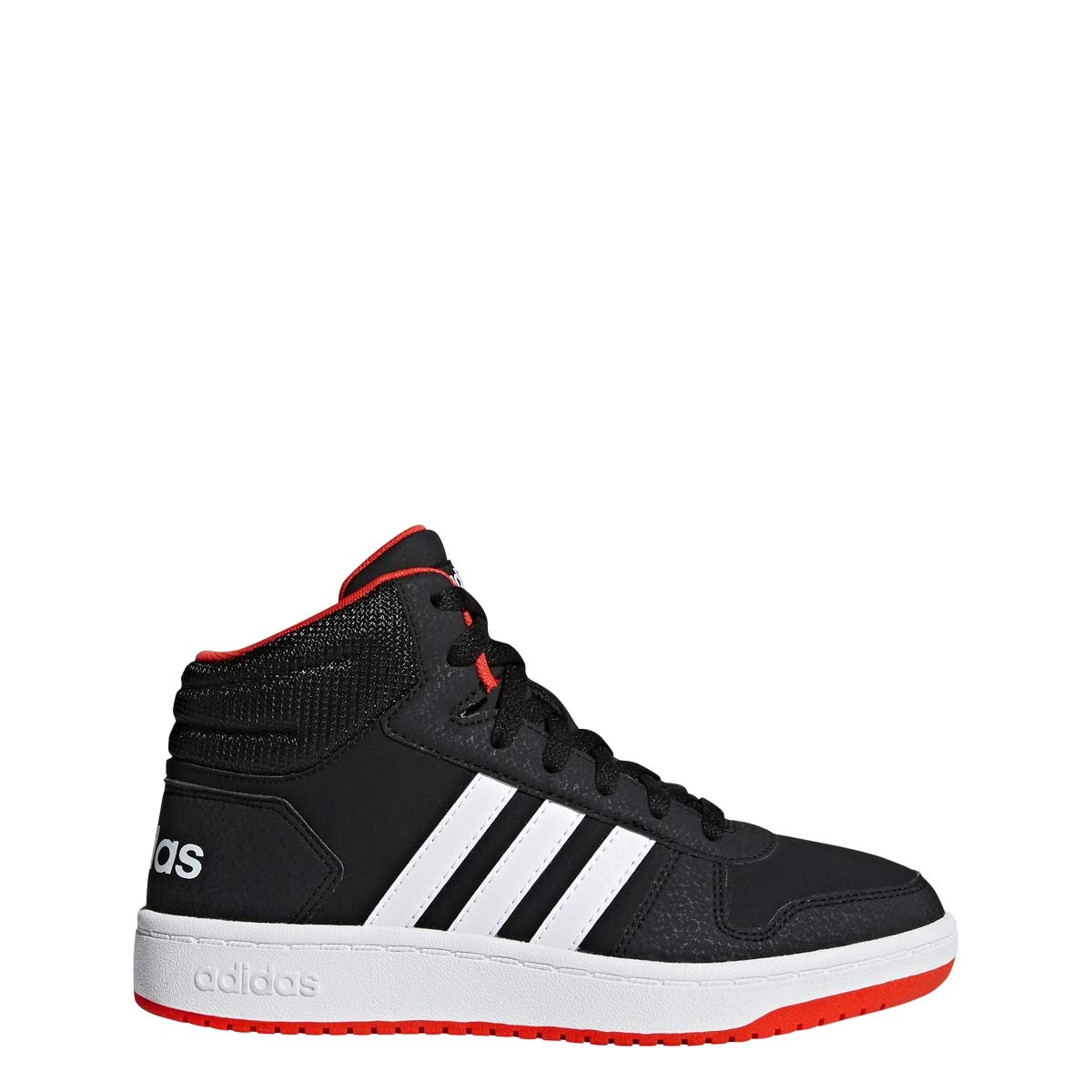 adidas Unisex Hoops 2.0 Basketball Shoe, Black/White/red, 7 M US Big Kid