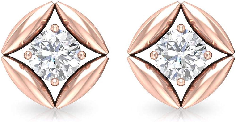 Pendientes de diamante de 1 ct para mujer, diseño de pétalos de oro, redondo, certificado IGI, ideal para regalo, ideal para madre e hija, tornillo hacia atrás