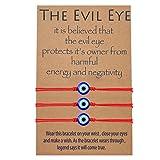 MANVEN Evil Eye Kabbalah Red String Bracelets