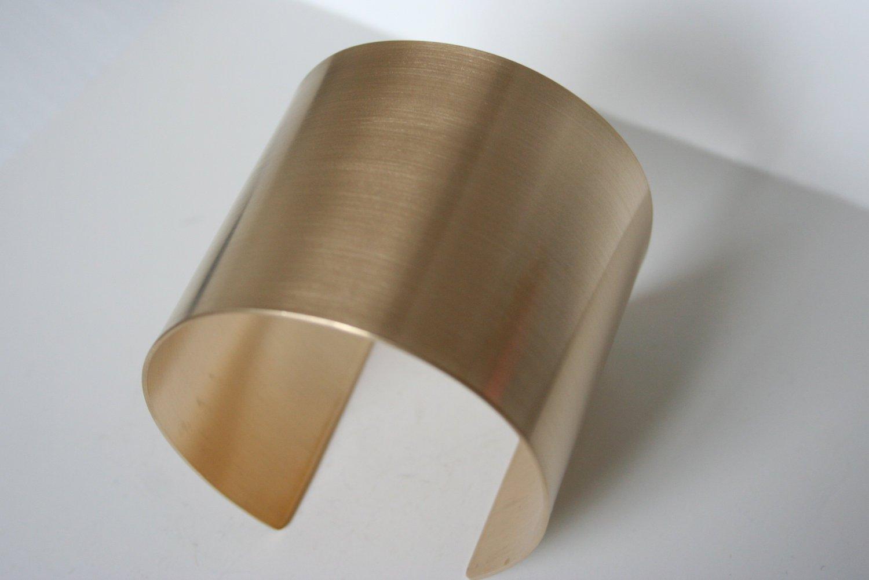 2 Wide Metal Cuff in Brass Brass Cuff Metal Bracelet Super Hero Cuff Wonder Women Cuff Brushed Finish Jewelry Gold Color Cuff