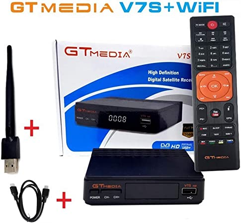 RONSHIN Electronics V7S FTA Satellite Receiver DVB-S2 TV Digital Sat Decoder Full HD 1080P with USB WiFi Antenna Support for USB PVR Ready CCcam Newcam YouTube PowerVu Dre Biss Key