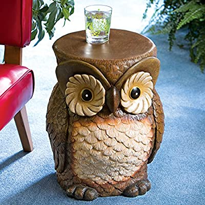 Bits and Pieces - Decorative Owl Patio Side Table - Indoor or Outdoor Weather Resistant Polyresin Accent Side Table/Stool Sculpture - Our delightful owl is a versatile design that can be used as a perfect little side table, end table, stool or even a plant stand. An eye-catching accent piece for your home, patio, porch or den. Sculpted of textured weather resistant polyresin with beautiful airbrushed detailing. - patio-tables, patio-furniture, patio - 61wibYeG41L. SS400  -