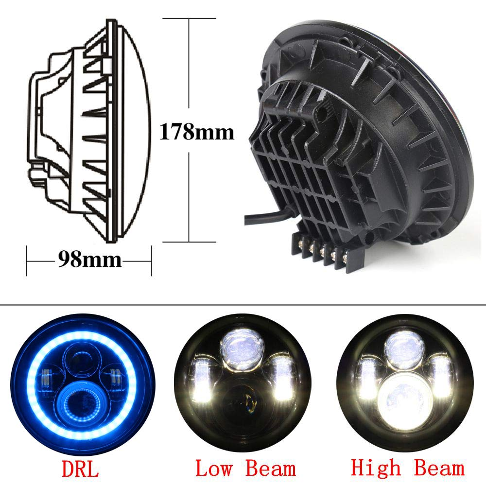 Athiry Pair 7 inch LED Halo Headlight White/&Blue H4 Hi//Low Beam With Halo Ring Angel Eyes DRL for 2007-2017 Jeep Wrangler JK TJ LJ H1 H2