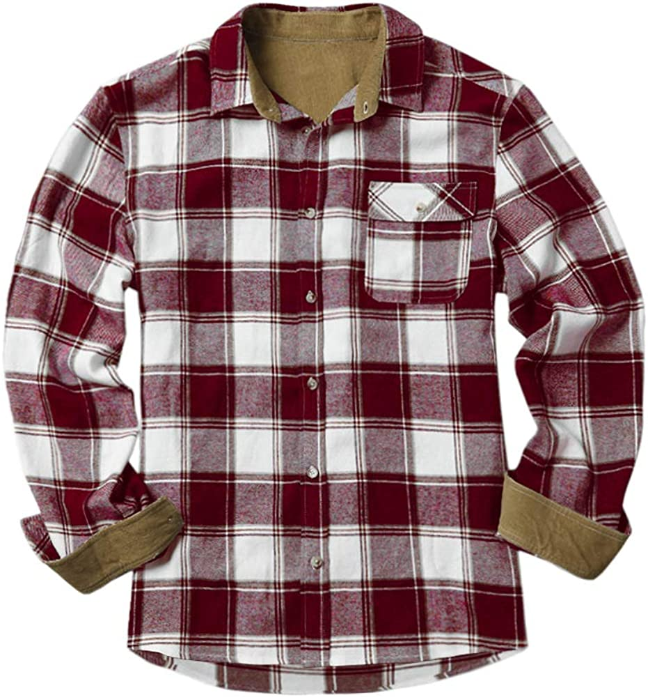Makkrom Mens Flannel Shirts Plaid Cotton Button Down Long Sleeve Camp Casual Shirts