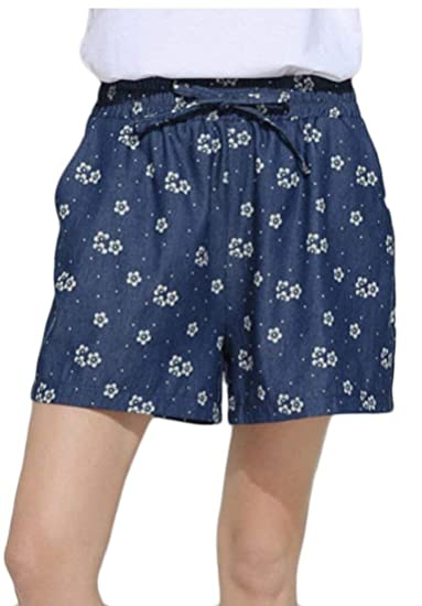 df47c23b7e Alion Womens High Rise Cotton Short Casual Beach Hot Shorts Dark Blue M