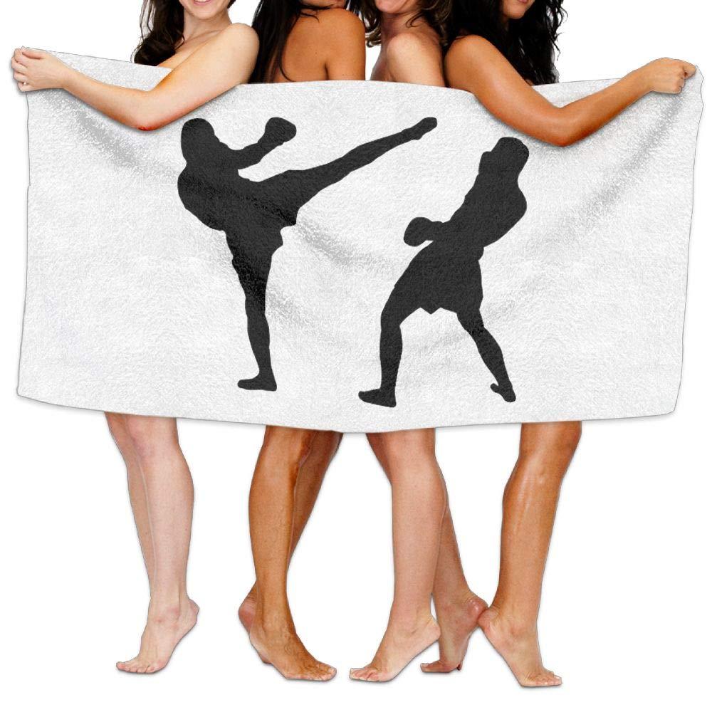 HXXUAN Muay Thai Silhouette Quick-drying Bath Towels Beach Towel Adult Travel