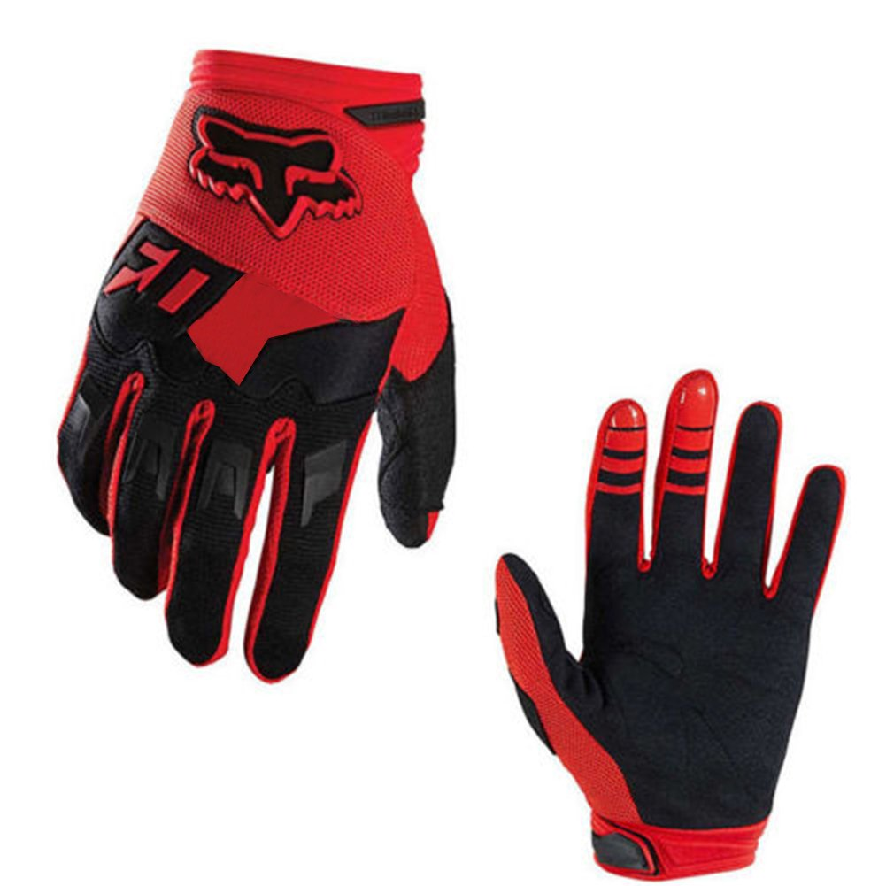 Full-Finger Racing Motorcycle Gloves MTB Bike Mittens Off-Road Riding Gloves Outdoor Sports Gloves (Red, XL)