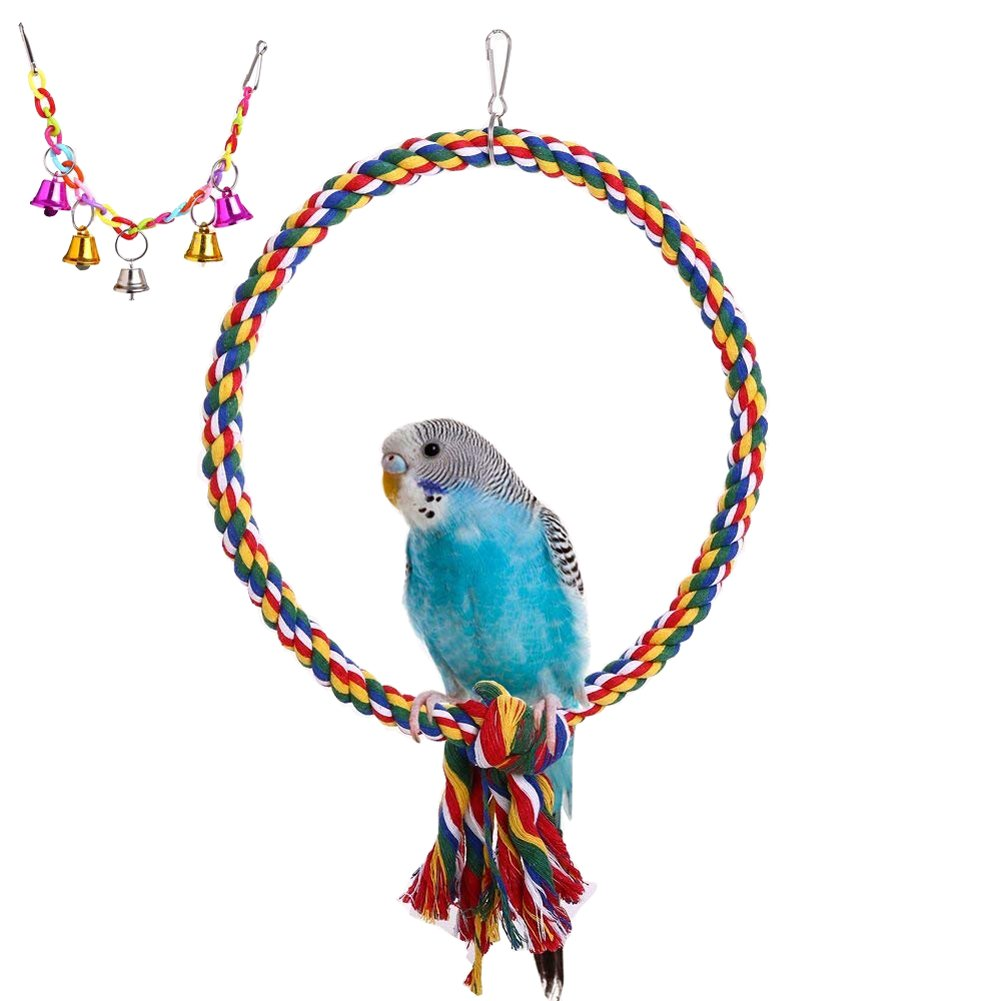 QBLEEV Bird Rope Perch Swing Toy with a Colorful Hanging Bell Toy, Natural Non-toxic Pet Bird Cage Hammock for Small Animals Parakeets Cockatiels Conures, Macaws Parrots Love Birds Finches [2 PACK]
