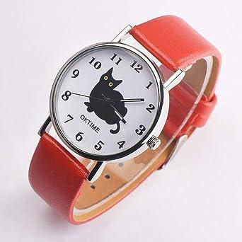 Mujeres Kawaii Cute Cat Banda de Cuero de Moda Relojes de Pulsera Dial Redondo Cuarzo Reloj de Pulsera Deportivo cumpleaños - Rojo: Amazon.es: Relojes