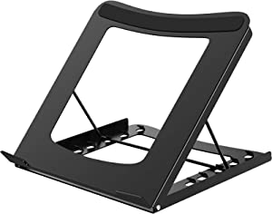1home Adjustable Laptop Stand Portable Ergonomic Notebook Riser Desk Computer Holder Ventilated Solutions for 11-15 Inch Compitable with Apple, Lenovo, Dell XPS, HP, Samsumg Black
