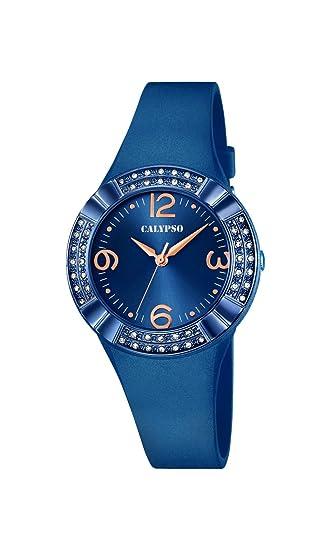 Calypso - Reloj de Mujer de Cuarzo con Esfera Analógica Azul Pantalla y Azul Correa de plástico K5659/6: Amazon.es: Relojes