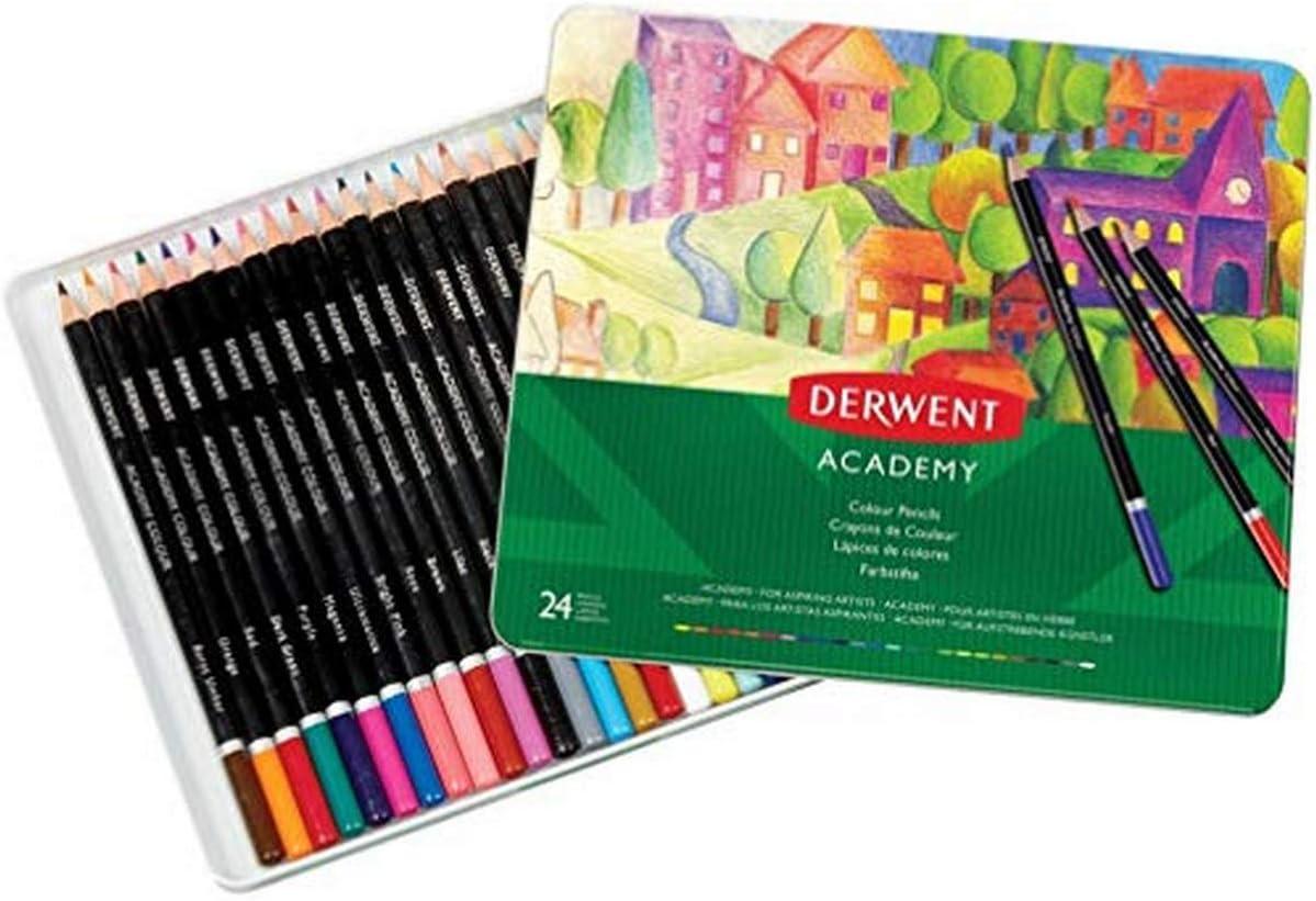 DERWENT 2301938 - Caja metálica 24 lápices de colores (madera natural)