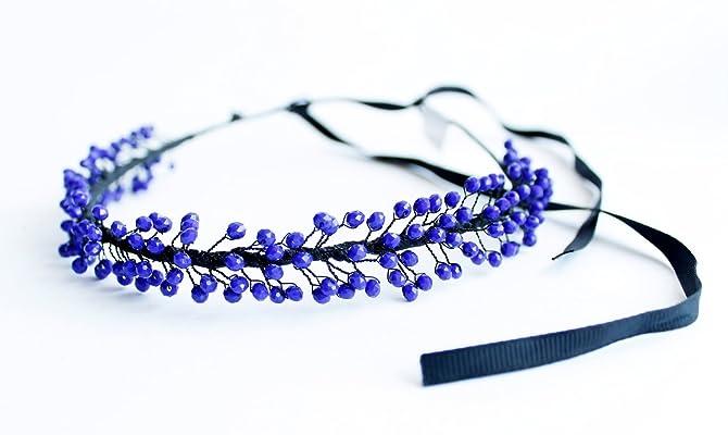 Blue Headband For Women Beaded Ribbon Headbands Girls Party Wedding Festivals Hair Wreath
