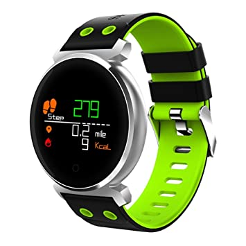 QHJ Bluetooth Smart reloj IP68 resistente al agua Fitness Tracker Tensiómetro Pulsómetro, verde