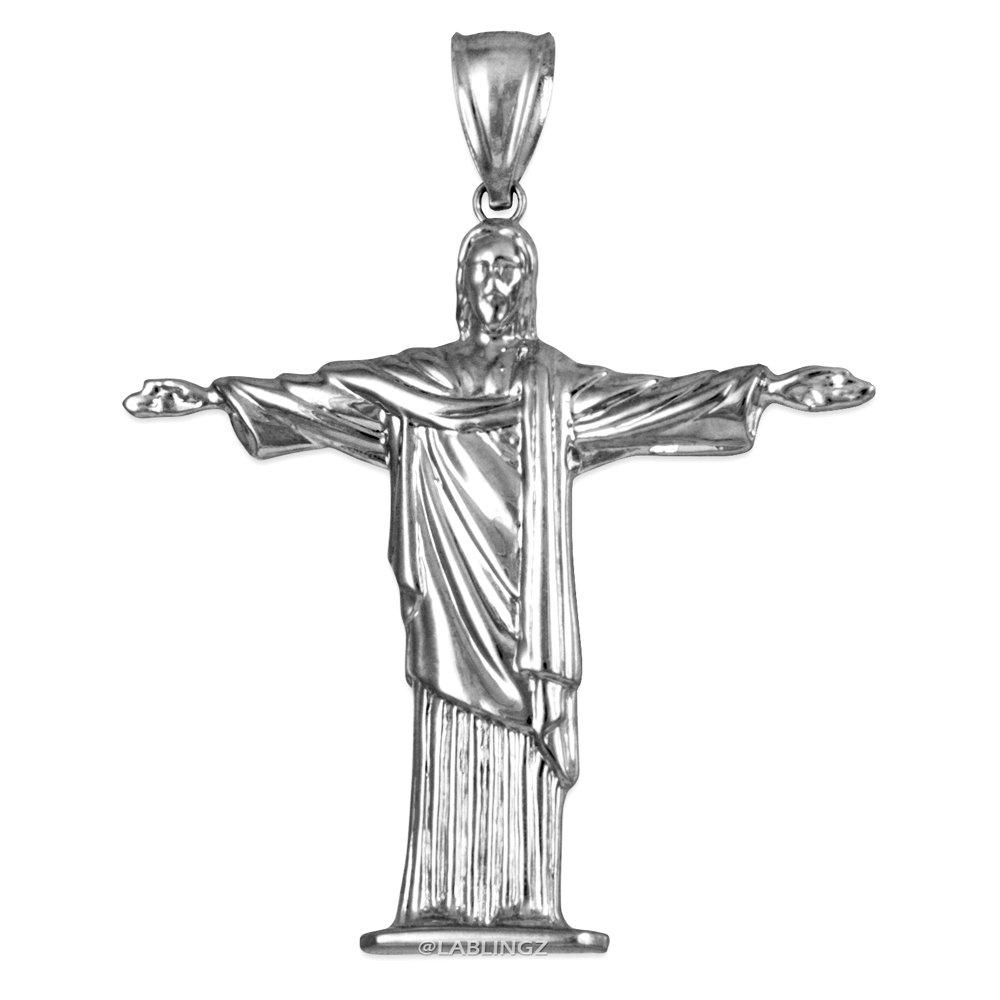14K White Gold Jesus Christ The Redeemer Brazil Rio Statue Pendant