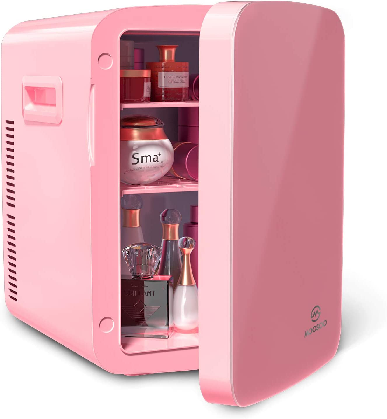 Mini Fridge 15 Liter, MOOSOO Portable Small Fridge with AC & DC Power, Use for Home & Car, Heat and Cool Dual Mode, Provides Compact Storage for Skincare, Snacks, Drinks, 18 12oz Cans, Desktop Fridge