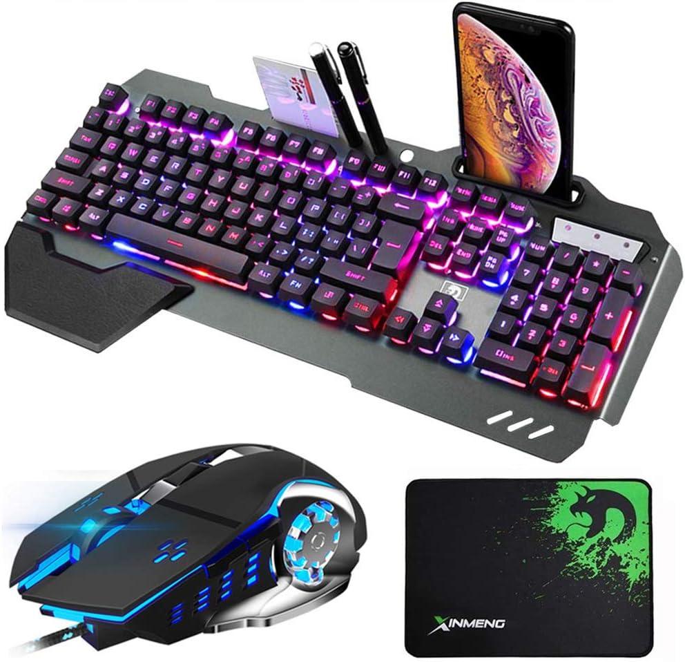 Hoopond combinación de Teclado y ratón con híbrido/RGB 16 Tipos de retroiluminación Teclado de Juego USB de Metal Negro con Soporte de Mano + 3200 PPP ...