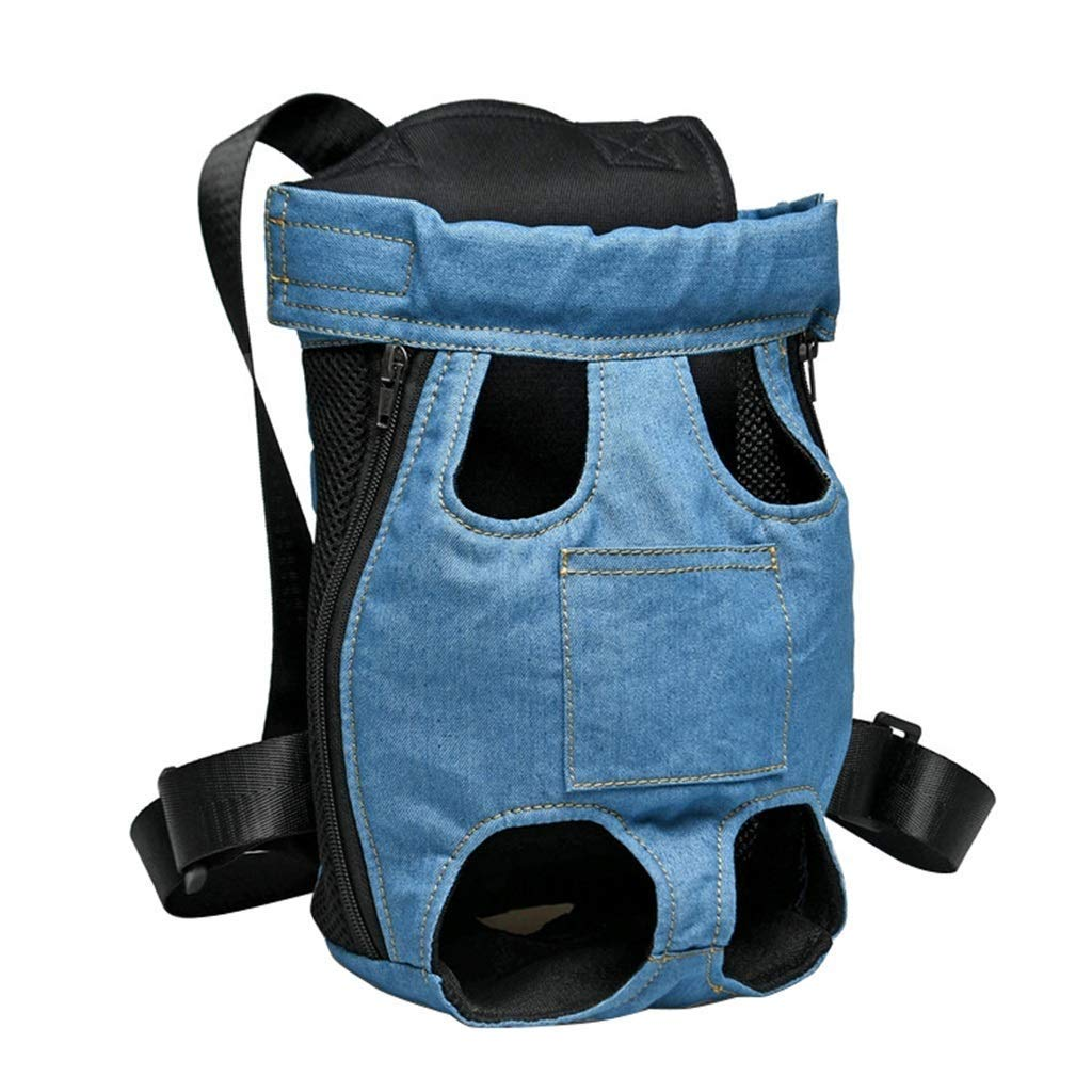 bluee Small bluee Small Pet Backpack, Portable Breathable Pet Bag, Chest Bag Denim Bag, Legs Out Front Adjustable Puppy Cat Small Bag, Out Travel Hiking Camping,bluee,S