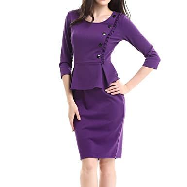 3f16dee5 KAXIDY Ladies Bodycon Prom Dress 3/4 Sleeves Pencil Dress Casual Party Prom  Dress (