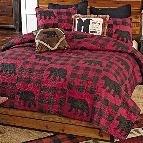 - Black Forest Decor Buffalo Plaid Bear Red Quilt Set - Twin