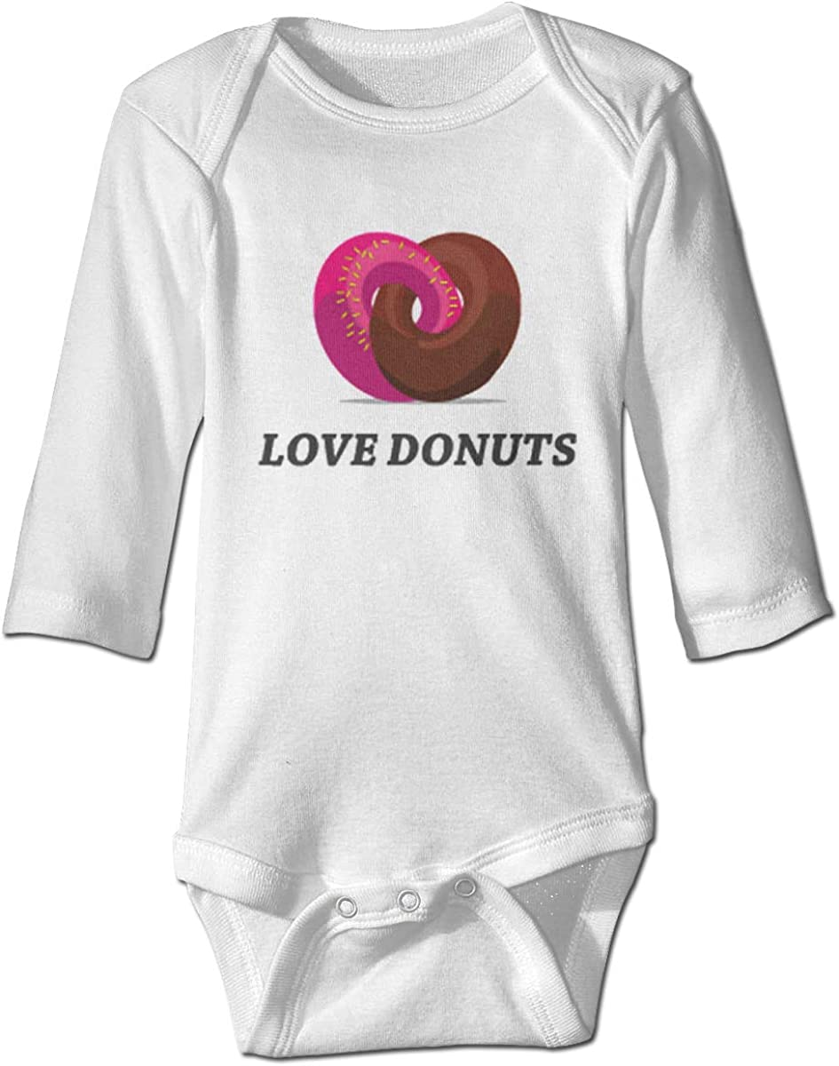 Marsherun Babys Girls Boys Love Donuts Long-Sleeve Climbing Bodysuits Playsuits