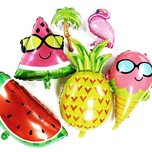 AnooDeel 6 pcs Fruit Mylar Balloons, 25inch Giant Pineapple Balloons Watermelon Balloons Glasses Ice Cream Helium Foil Balloons for Hawaii Party Luau Balloons Summer Beach Party supplie Decorations