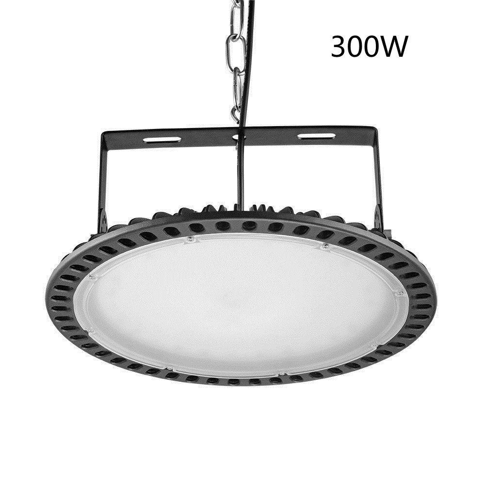 Viugreum 300W UFO LED High Bay Lighting,Ultra Slim,30000LM Daylight White(6000-6500K),Commercial Industrial Chandelier,for Garage,Factory,Workshop,Gymnasium,Basement Parking,Warehouse,Ship from USA
