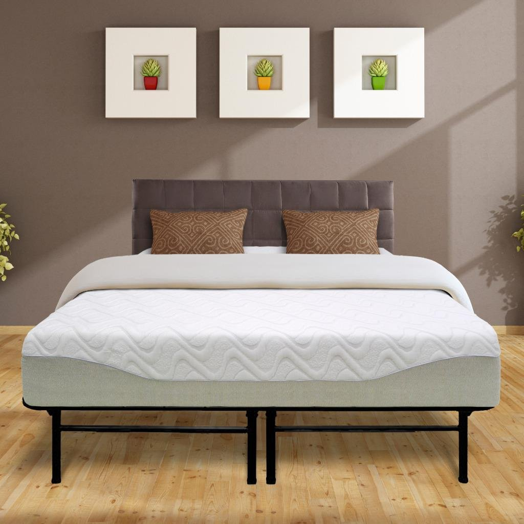Best Price Mattress 11'' Gel-Infused Memory Foam Mattress & Dual-Use Steel Bed Frame/Foundation Set, Full by Best Price Mattress