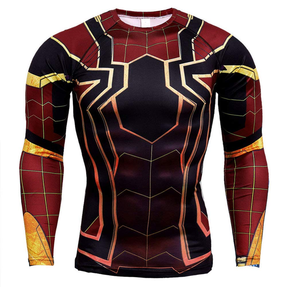 Long Sleeve Compression Top Shirt Black Spider Printed Tee