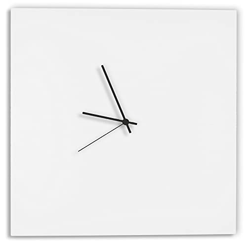 Modern White Clock Whiteout Black Square Clock Minimalist Metal Wall Clocks, Contemporary Decor – 16in. White w Black Hands
