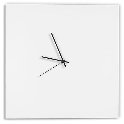 Modern White Clock Whiteout Black Square Minimalist Metal Wall Clocks Contemporary Decor