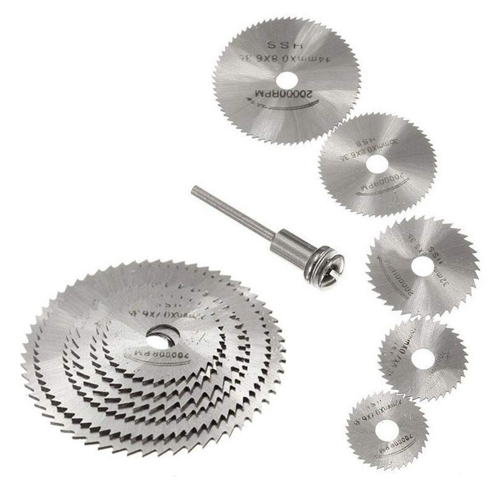 """WREOW 6pc 1/8"""" Shank High Speed Steel HSS Saw Disc Wheel Cutting Blades with Mandrels for Dremel Fordom Drills Rotary Tools"""