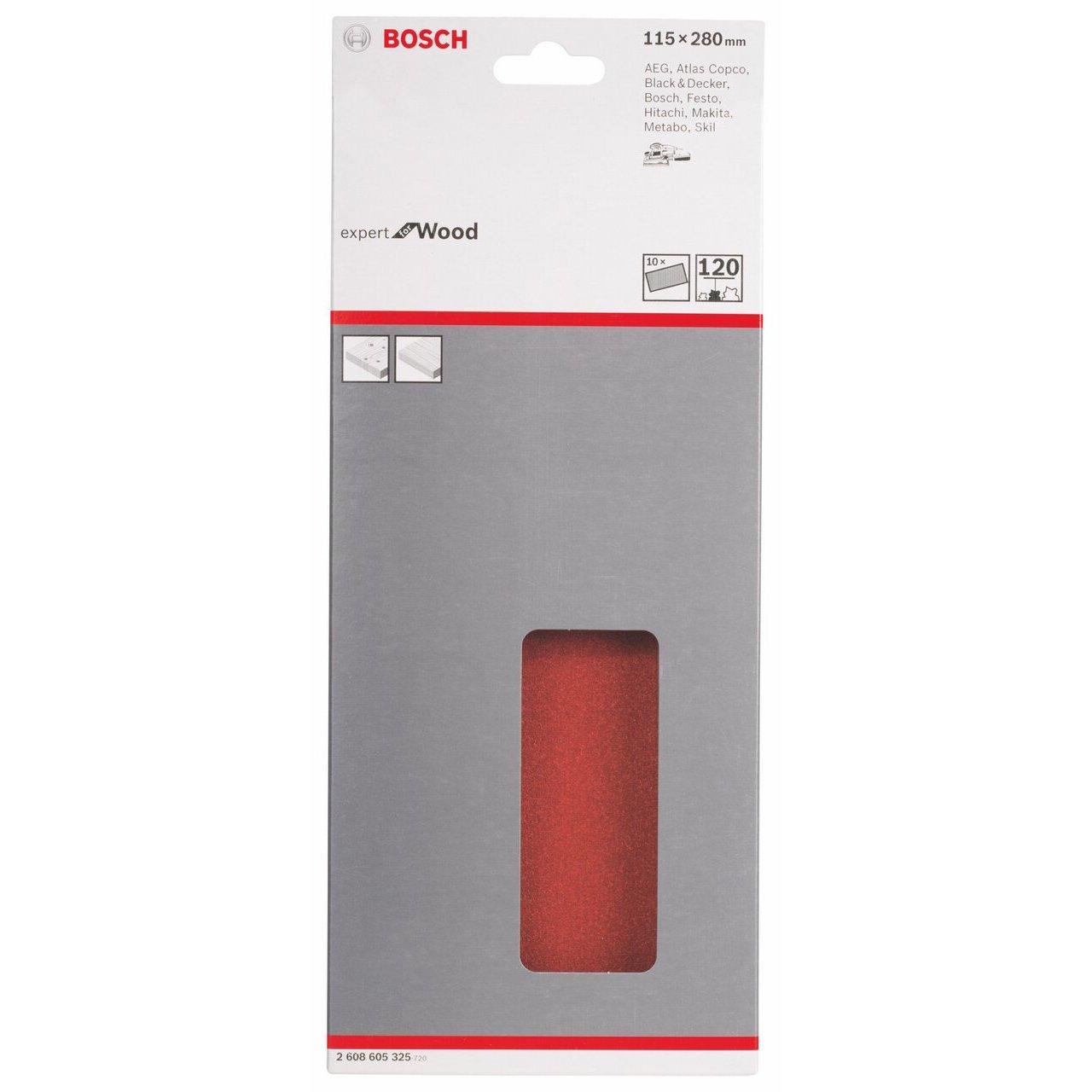 Bosch 2608605325 grana 120 115 x 280 mm velcro non perforati Confezione da 10 fogli abrasivi