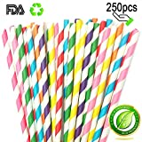 Striped Paper Straw Biodegradable and Recycled, Drinking Straws Adding A Decorative Touch to