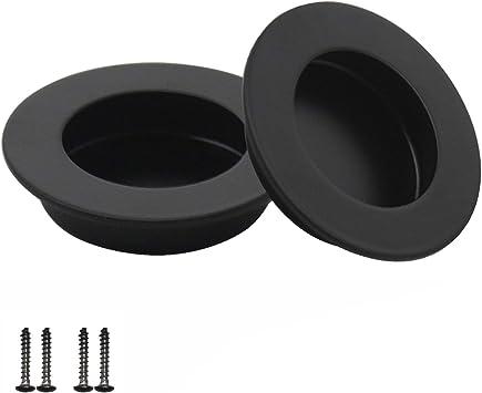 Probrico - Tirador para puerta corredera de acero inoxidable (2 unidades, 65 mm), color negro: Amazon.es: Bricolaje y herramientas