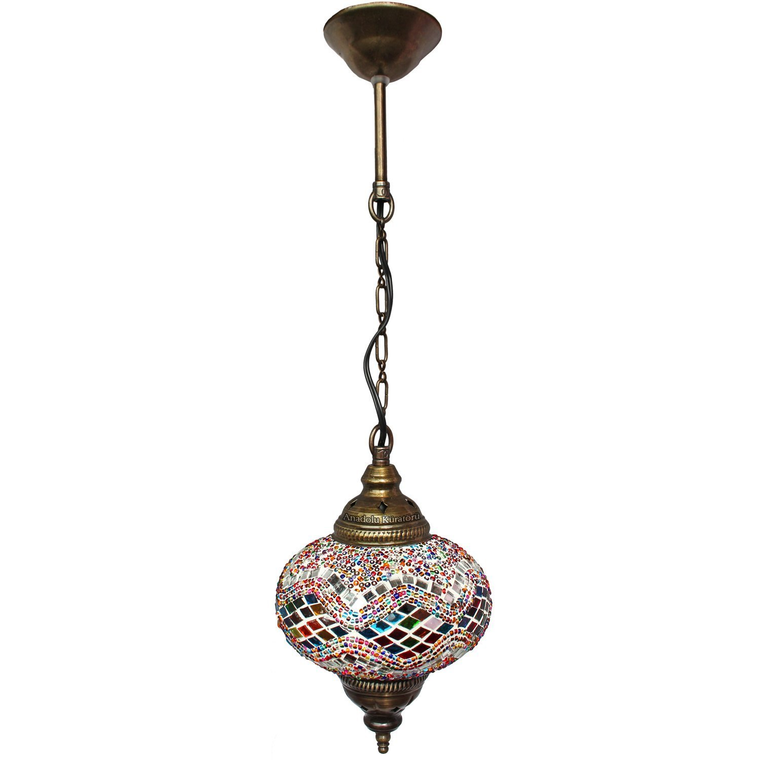 Ceiling Pendant Fixtures, Mosaic Lamps, Turkish Lamps, Hanging Lights, Moroccan Lanterns, Color Glass, Size 3, Multi-colored, Arabian Nights