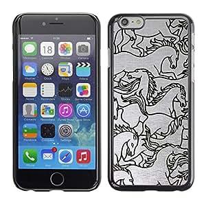 Caballo Dibujo Boceto Negro blanco del arte - Metal de aluminio y de plástico duro Caja del teléfono - Negro - Apple (4.7 inches!!!) iPhone 6 / 6S