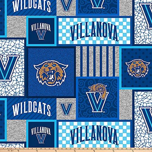 (Sykel Enterprises Collegiate Fleece Villanova Patches Blue/Multi BLUE/MULTI, Fabric by the)