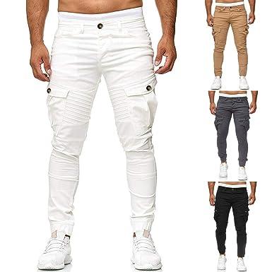 Hombre Pantalón MISSWongg Poliéster Pantalones Vaqueros para ...