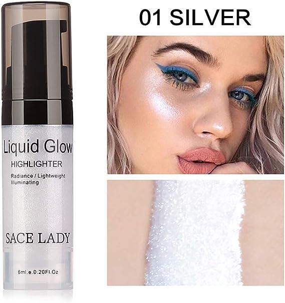 Beito 1Bottle Face Liquid Highlighter Contorno 3D Brighten Shimmer Liquid Highlighter Glow Maquillaje Ultra-suave Face Glitter Primer 6ml / 0.2 OZ (01 ...